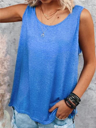 Casual Fit Round Neck Solid Color Basic Tank Tops