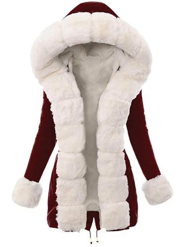 Extra Warm Adjustable Drawstring Hem Fur Lined Hooded Coat