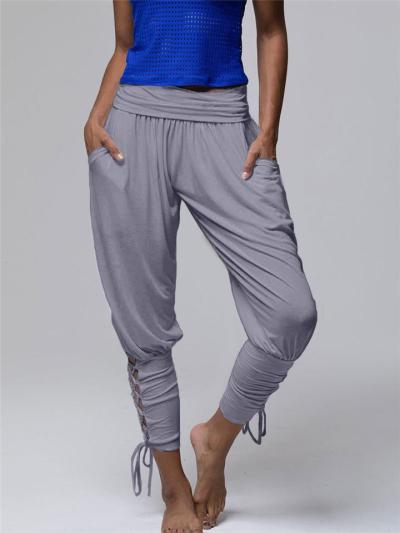 Casual Style Solid Color Side Tie-Up Cuff Pocket Pants