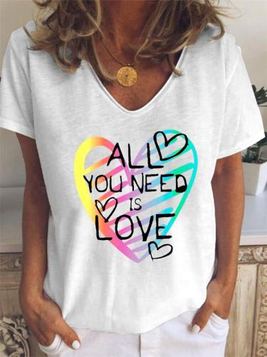 Relaxed Fit V Neck Short Sleeve Letter Heart Pullover T-Shirts