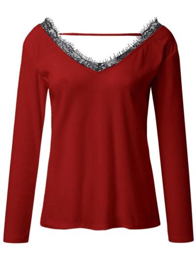 Relaxed Fit V Neck Lace Long Sleeve Base Layer Pullover Tops