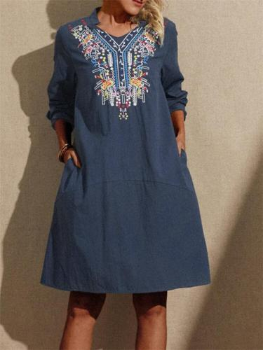 Ethnic Vintage Floral Embroidery V-Neck Pullover Midi Dress