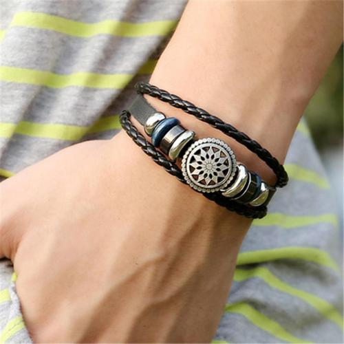 Unisex Retro Braided Ornament Genuine Leather Bracelet