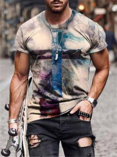 Mens Street Style Cross Printing Short Sleeve T-shirt