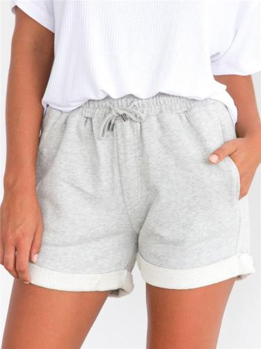 Women Roll Rim Elastic High Waist Casual Shorts