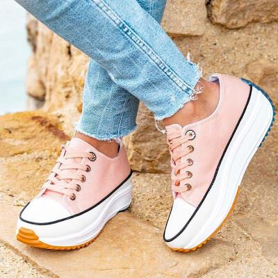 Casual Style Low-Cut Lace-Up Thick-Sole Walking Shoes