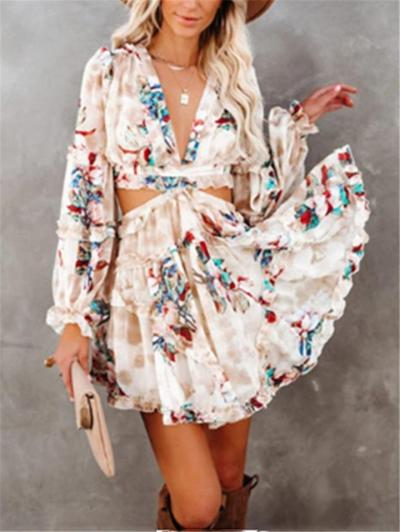 Fashionable Floral Low V Neck Back Lace Up Waist Cutout Pleated Dress