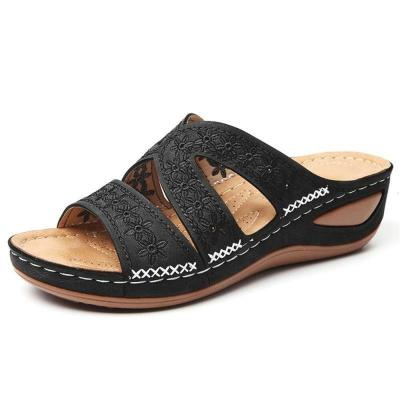 Casual Style Open-Toe Floral Cutout Wedge Heel Soft Footbed Slippers