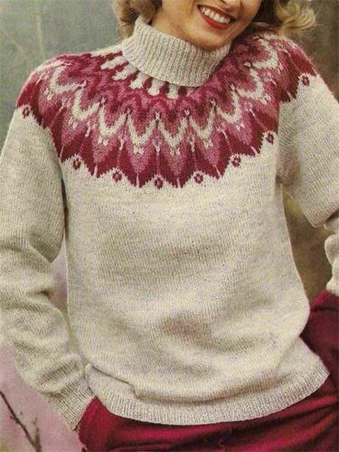 Women's Stylish Printed Turtleneck Casual Knit Sweater