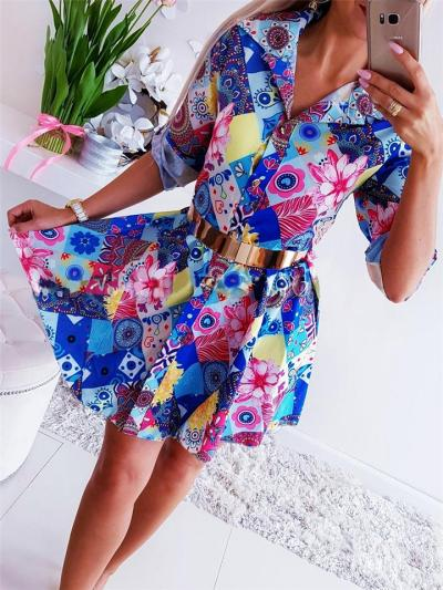 Button Up Lapel Collar Floral Printed Rolling Up Sleeve Midi Shirt Dress