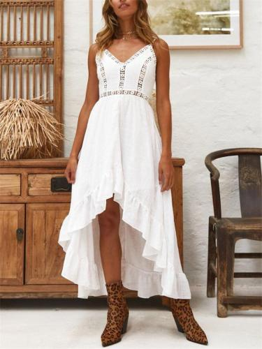 Fashionable V Neck Cutout Design Fitted Waist Strappy High-Low Dress