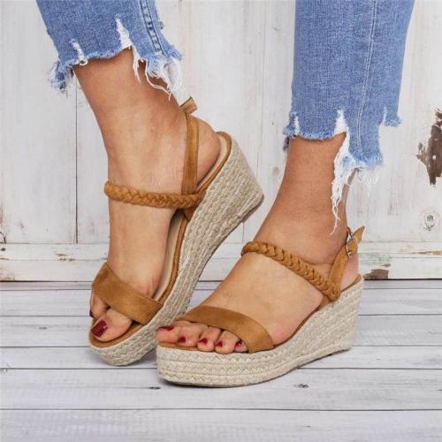 Casual Open Toe Buckle Wedge Sandals