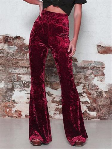 Stylish High-Waisted Plush Velvet Flare Pants