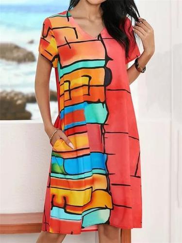 Relaxed Fit V Neck Contrasting Short Sleeve Pocket Midi Dress