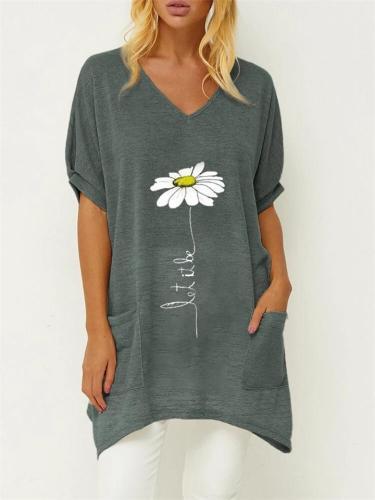 Floral Printed Irregular Hem Long Women T-shirt With Pocket