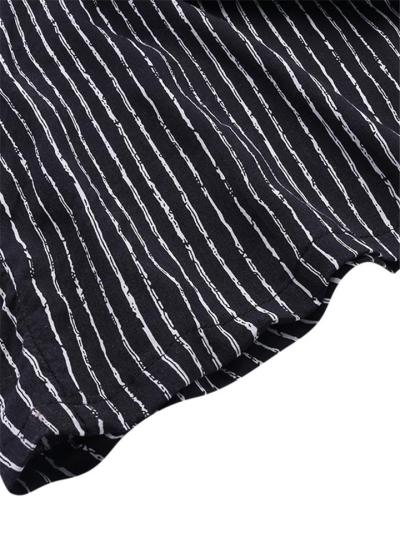 Oversized V Neck Sleeveless Striped Strappy Wide-Leg Jumpsuit
