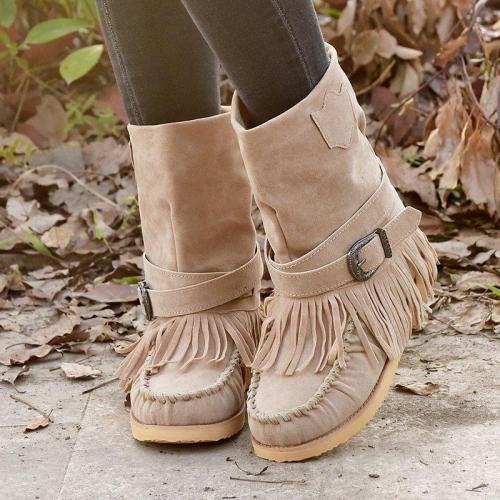 Bohemian Traveler Tassel Buckle Flat Boots