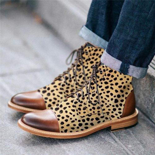 Stylish Texture Printed Hit Color Laced Mens Boots