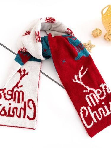 Festive Christmas Printing Warm Scarf