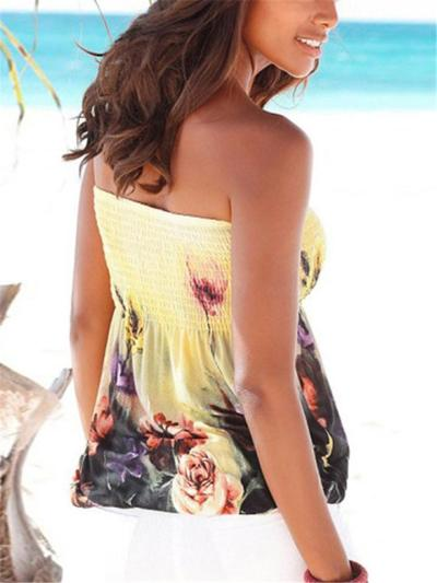 Stylish Floral Printed Smocked Elastic Bodice Strapless Top