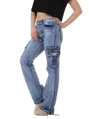 Casual Style Mid-Rise Washed Effect Pocket Straight Leg Jeans