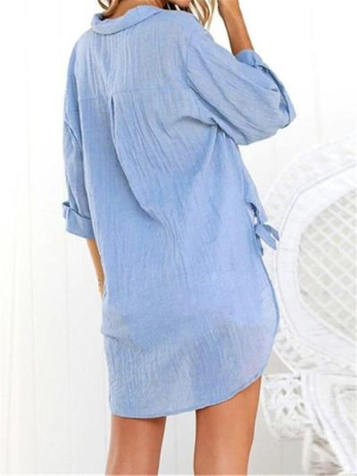 Casual Style V Neck Button Half Sleeve Side Tie Knot Blouse