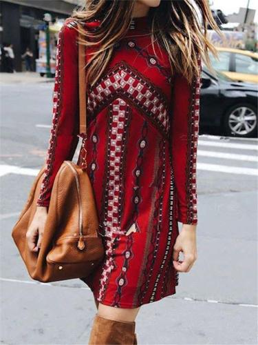 Fashionable Round Neck Printed Long Sleeve Pullover Midi Dress