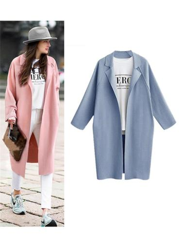Women's Midi Length Notched Collar Solid Trench Coat