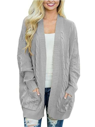 Women Open Front Cardigan Sweaters With Pockets