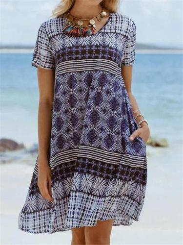 Casual Fit Short Sleeve Round Neck Floral Printed Pullover Midi Dress
