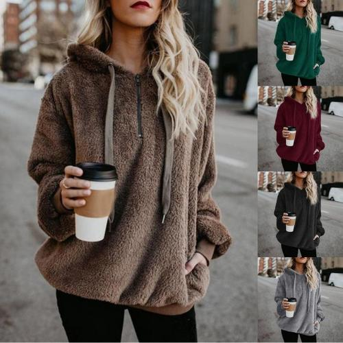Cool Long Sleeve Fleece Hooded Outerwear For Autumn