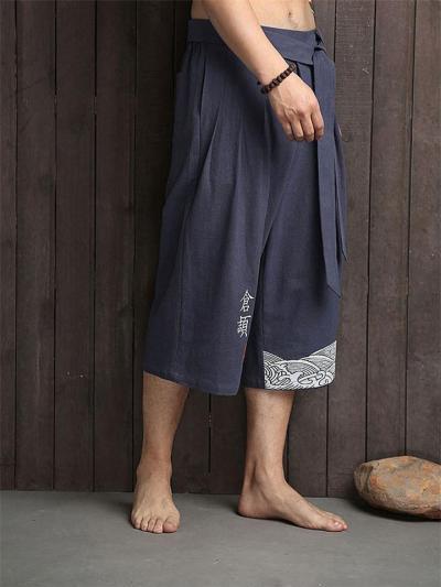 Mandarin Style Drawstring Wide Leg Calf-Length Linen Pocket Pants