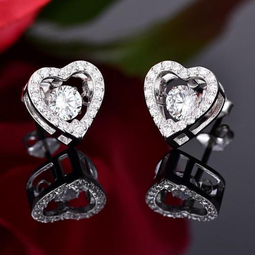 Cute 925 Silver Crystal Heart Earring Studs Gift