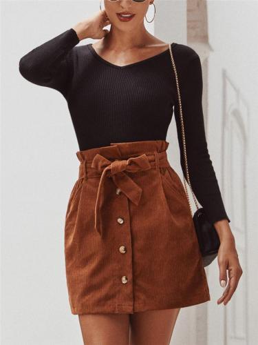 Trendy Waist Tie Corduroy High-Rise Straight Mini Skirt