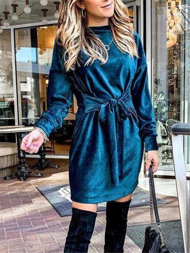 Casual Fit Round Neck Waist Tie Long Sleeve Midi Length Dress