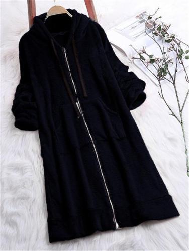Women's Comfortable Full Zipper Pocket Fleece Hooded Coat
