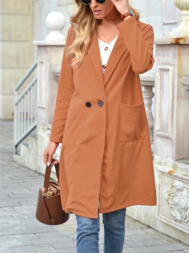 Relaxed Fit Single-Button Closure Notched Lapel Collar Midi Woolen Coat