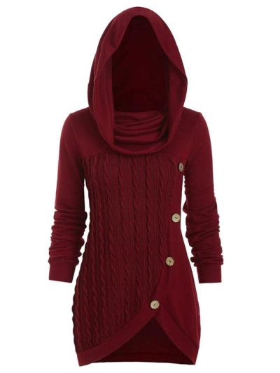 Trendy Button Deco Asymmetric Design Knitted Hooded Sweater