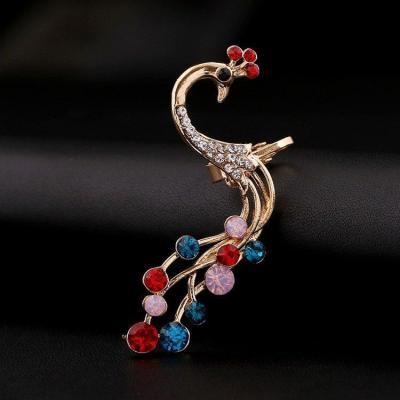 1 pc Ethnic Peacock Silver Earrings Colorful Rhinestones Ear Cuff Cartilage Earrings for Women