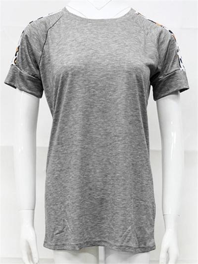 Regular Fit Round Neck Leopard Short Sleeve Pullover T-Shirt