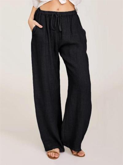 Casual Fit Solid Color Drawstring Pocket Wide-Leg Linen Pants