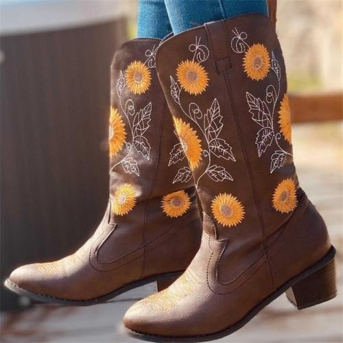 Women's Flowers  Embroidery Slip-on Boots