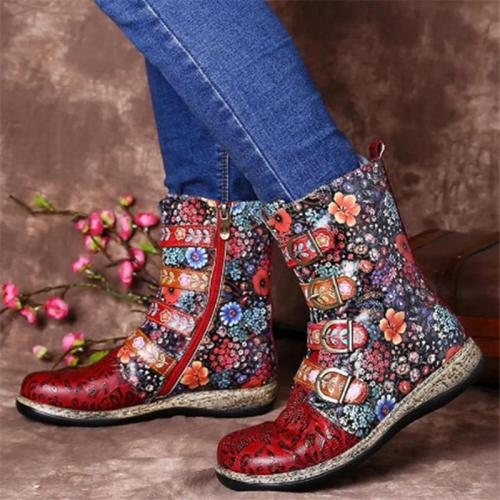 Ethnic Style Buckle Up Side Zipper Durable Non-Slip Boots