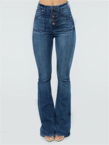Slim Fit Mid-Rise Button Up Pocket Flare Denim Pants