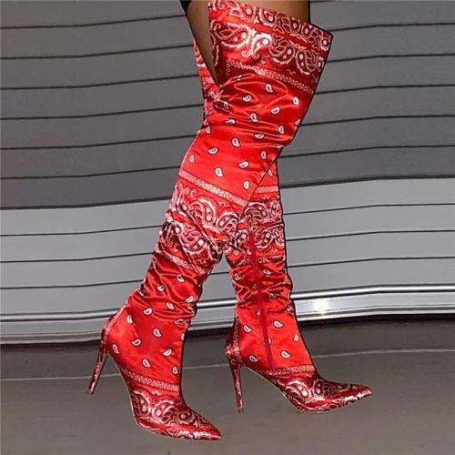 Distinctive Stylish Pointed-Toe Bandana Thigh High Boots