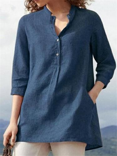 Relaxed Fit Solid Color Mandarin Collar Button 3/4 Sleeve Cotton Linen Shirt