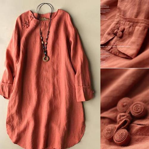 Solid  Irregular Frog Button Vintage Blouses