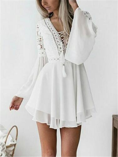 Fashionable Floral Lace Cutout Flare Long Sleeve Chiffon Pleated Dress