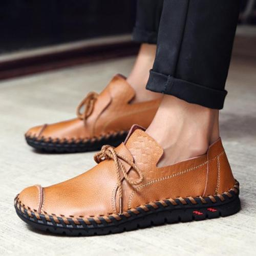 Men Casual Genuine Leather Lace Up Soft Flats Oxfords