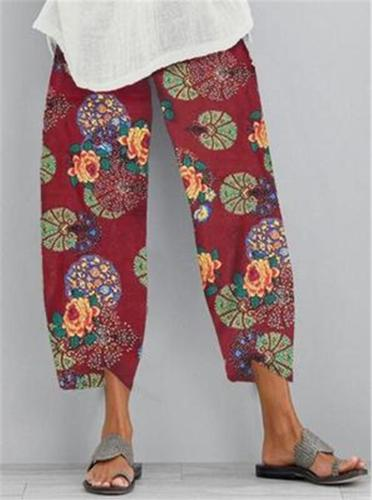 Flower Print Casual Pant Women Elastic Waist Pant